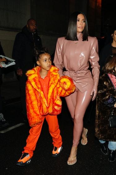 Kim Kardashian and daughter North West arrive at the Ferdi restaurant on March 01, 2020 in Paris, Fr...