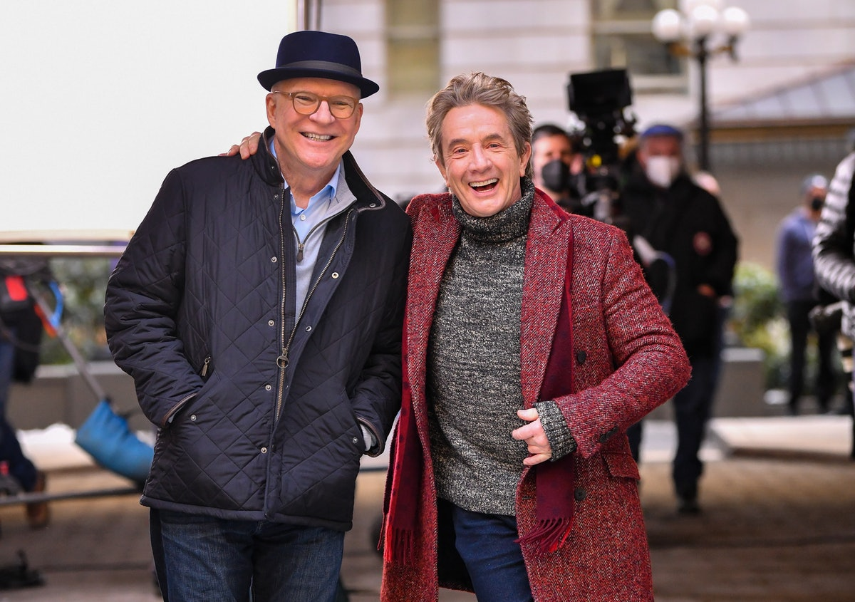 NEW YORK, NY - FEBRUARY 24:  Steve Martin and Martin Short seen on the set of 'Only Murders in the Building' in Manhattan on February 24, 2021 in New York City.  (Photo by James Devaney/GC Images)