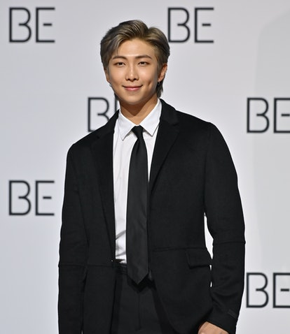 South Korean K-pop boy band BTS member RM poses for a photo session during a press conference on BTS...