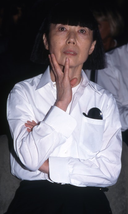 1998:  Japanese fashion designer Rei Kawakubo at 'Idea l'Uomo' press conference at the Palazzo Vecch...