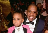 LOS ANGELES, CA - FEBRUARY 12:  Rapper Jay Z (R) and Blue Ivy Carter during The 59th GRAMMY Awards at STAPLES Center on February 12, 2017 in Los Angeles, California.  (Photo by Lester Cohen/Getty Images for NARAS)