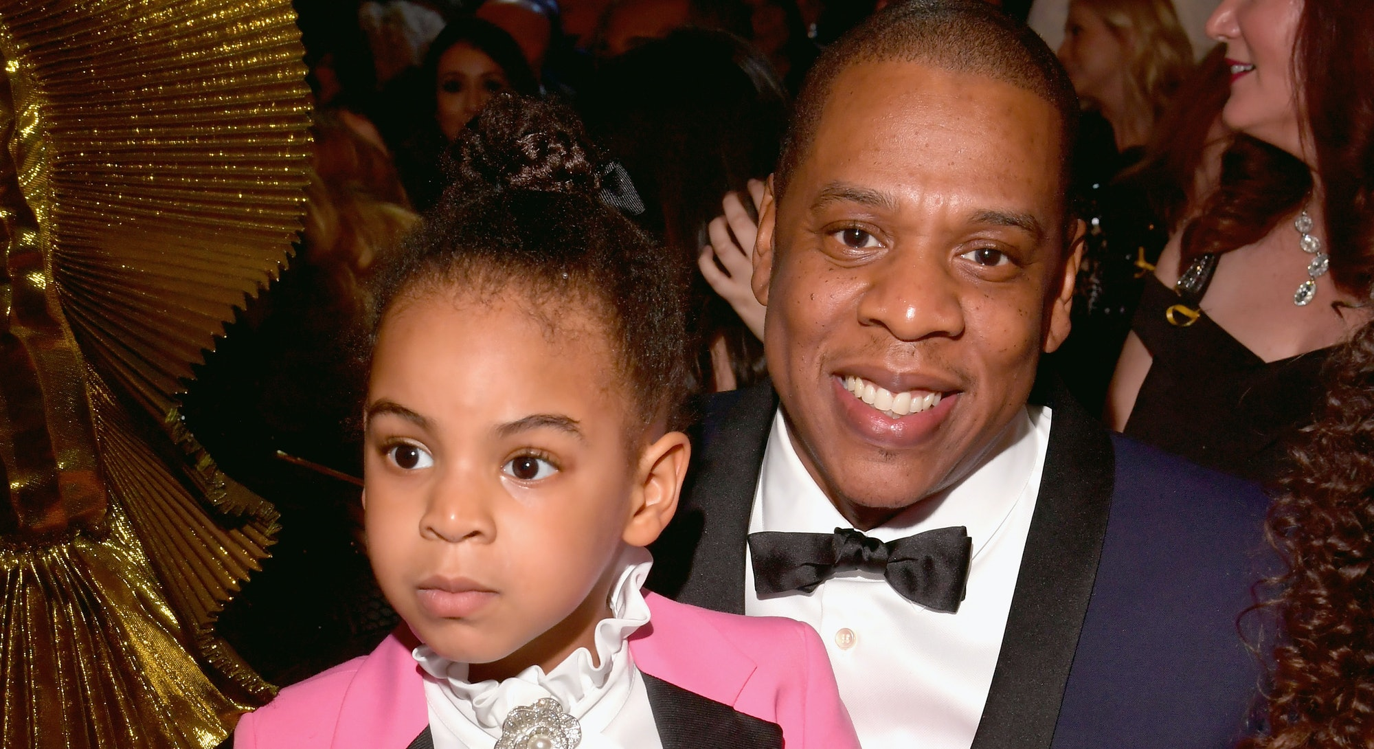 LOS ANGELES, CA - FEBRUARY 12:  Rapper Jay Z (R) and Blue Ivy Carter during The 59th GRAMMY Awards a...