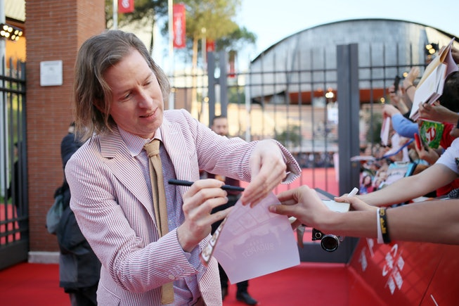 ROME, ITALY - OCTOBER 19: Wes Anderson signs autographs on a red carpet during the 14th Rome Film Festival on October 19, 2019 in Rome, Italy. (Photo by Ernesto S. Ruscio/Getty Images for RFF)