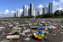 Garbage, including plastic waste, is seen at the beach of Costa del Este, in Panama City, on April 1...