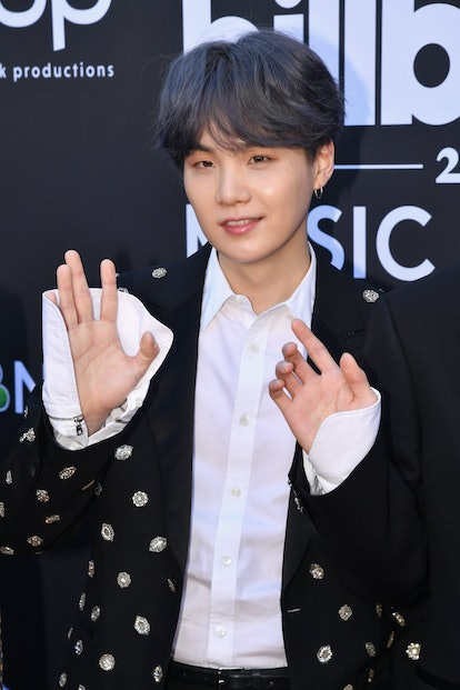 LAS VEGAS, NV - MAY 01:  Suga of BTS attends the 2019 Billboard Music Awards at MGM Grand Garden Arena on May 1, 2019 in Las Vegas, Nevada.  (Photo by Jeff Kravitz/FilmMagic for dcp)
