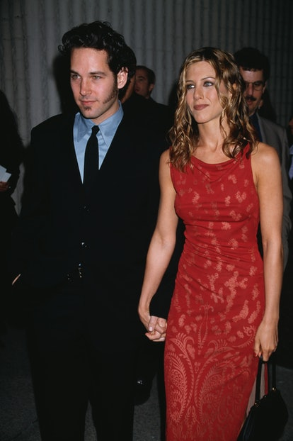 American actress Jennifer Aniston and American actor, screenwriter and producer Paul Rudd attend the premiere of movie 'The Object Of My Affection' at GCC Avco Theater in Westwood, California, US, 9th April 1998. (Photo by Vinnie Zuffante/Michael Ochs Archives/Getty Images)