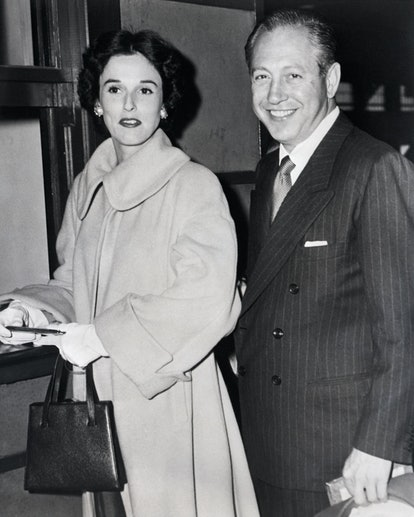 (Original Caption) 8/1/1947-New York, NY: Among the outward bound passengers on the luxurious Queen Elizabeth today were Mr. and Mrs. William S. Paley. He is the Columbia Broadcasting Company. She is the former Barbara Cushing Mortimer. Paley was divorced by Mrs. Dorothy Hart Paley in Reno on July 23. It was reported that she received a check for $1,500,000 from the Radio Tycoon. The New Bride is the daughter of the late Dr. Harvey J. Cushing, world famous brain surgeon. The voyagers are shown on the dock.