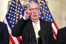 WASHINGTON, DC - MAY 18: Senate Minority Leader Mitch McConnell (R-KY) speaks following a Senate Rep...