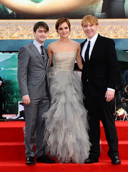 (L-R) Daniel Radcliffe, Emma Watson and Rupert Grint at the world premiere of Harry Potter And The D...
