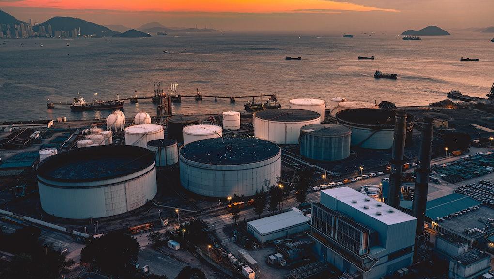 Petrochemical plant at twilight at Tsing Yi, Hong Kong