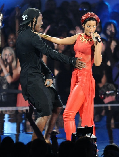 A$AP Rocky and Rihanna perform at the 2012 MTV Video Music Awards in 2012.