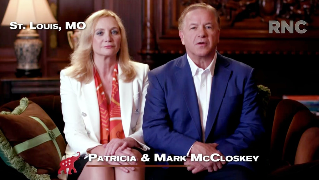 CHARLOTTE, NC - AUGUST 24: (EDITORIAL USE ONLY) In this screenshot from the RNC's livestream of the 2020 Republican National Convention, Patricia and Mark McCloskey, a couple from St. Louis who pointed guns at Black Lives Matter protesters, addresses the virtual convention in a pre-recorded video broadcasted on August 24, 2020.  The convention is being held virtually due to the coronavirus pandemic but will include speeches from various locations including Charlotte, North Carolina and Washington, DC. (Photo Courtesy of the Committee on Arrangements for the 2020 Republican National Committee via Getty Images)