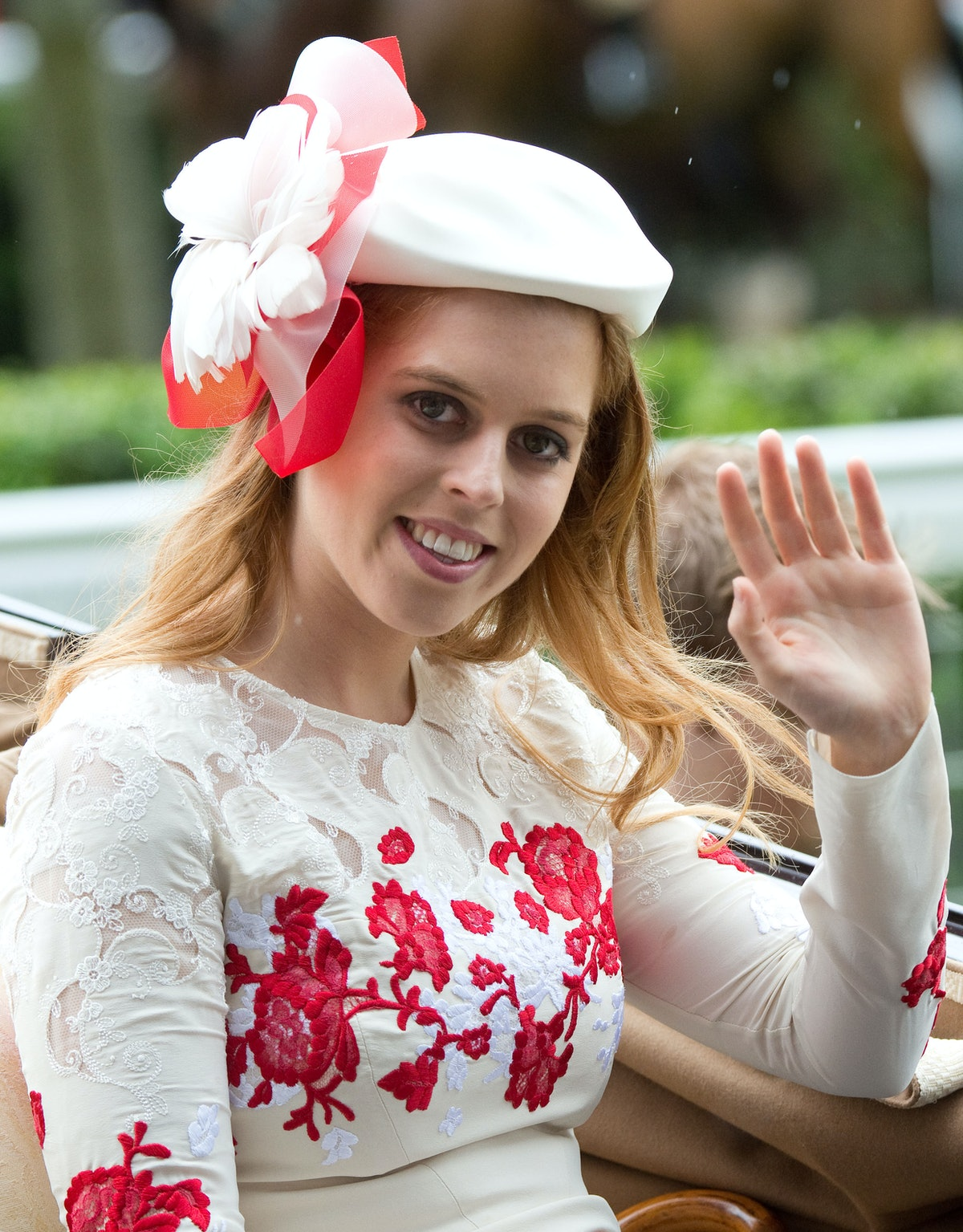 ASCOT, ENGLAND - JUNE 21:  Princess Beatrice arrives by carriage on Ladies Day of Royal Ascot 2012 at Ascot Racecourse on June 21, 2012 in Ascot, United Kingdom. (Photo by Samir Hussein/WireImage)