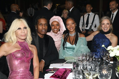 Donatella Versace, A$AP Rocky, Halima Aden, Rihanna, and Stephanie Phair attend the VIP dinner at Th...