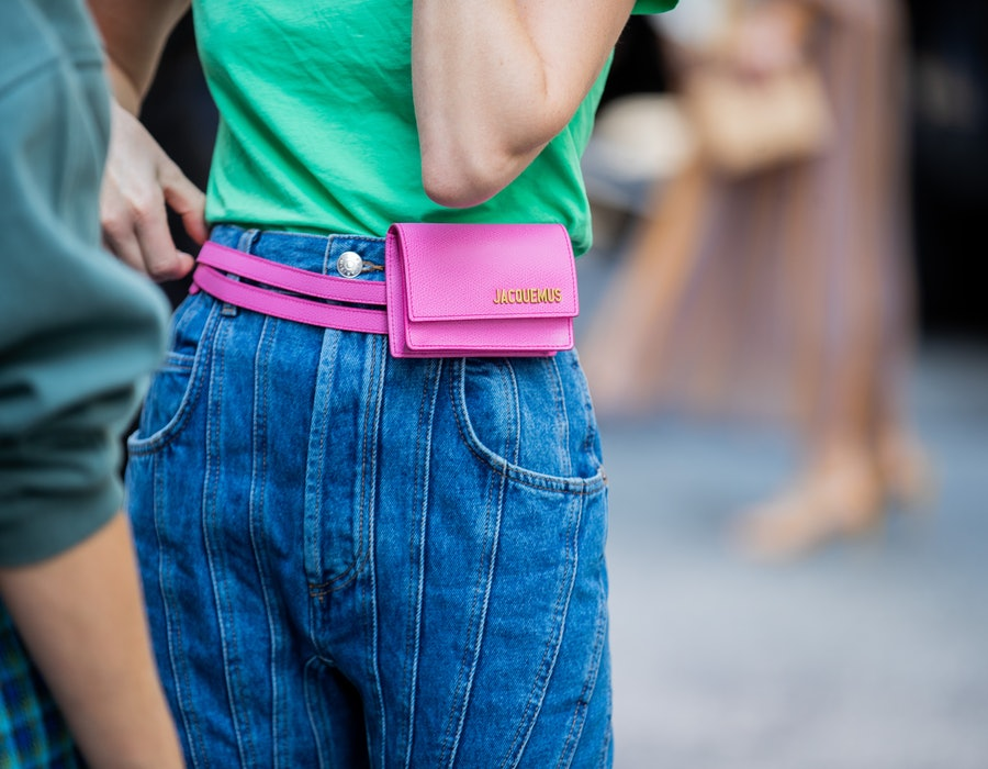NEW YORK, NEW YORK - SEPTEMBER 09: Thora Valdimars is seen wearing denim jeans, pink Jacquemus fanny bag during New York Fashion Week September 2019 on September 09, 2019 in New York City. (Photo by Christian Vierig/Getty Images)