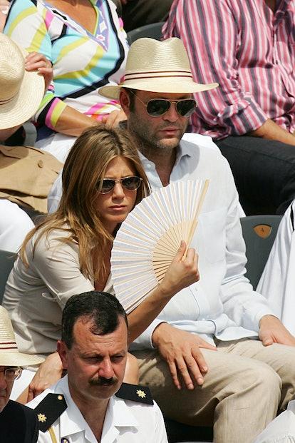 Jennifer Aniston with her boyfriend Vince Vaughn. (Photo by Stephane Cardinale/Corbis via Getty Images)