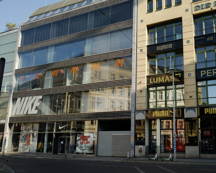 BERLIN, GERMANY - JUNE 27: General view from Die Hackeschen Höfe and the Puma and Nike stores in Berlin on June 27, 2020 in Berlin, Germany. (Photo by Jeremy Moeller/Getty Images)