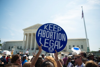 Pro-choice advocates celebrate in front of the U.S. Supreme Court after a ruling on abortion in 2016