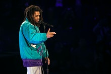 CHARLOTTE, NORTH CAROLINA - FEBRUARY 17: Rapper J. Cole performs during halftime of the 68th NBA All...