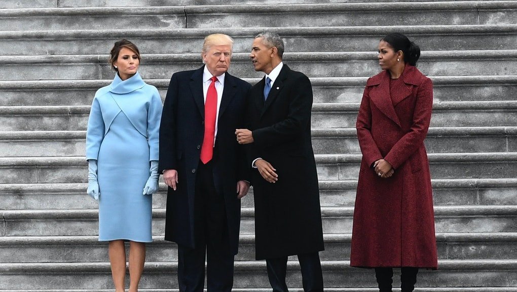WASHINGTON, DC - JANUARY 20: With their wives by their sides, President Donald J. Trump and Former president Barack Obama talk on the steps of the East Front of the Capitol after Donald Trump was sworn in as the 45th president of the United States on on January 20, 2017. (Photo by Toni L. Sandys/The Washington Post via Getty Images)