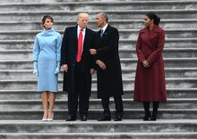 WASHINGTON, DC - JANUARY 20: With their wives by their sides, President Donald J. Trump and Former p...