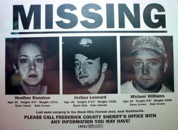 """372696 01: One of the Blair Witch Project """"artifacts"""", a missing poster, features the three actors w..."""