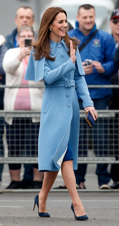 BALLYMENA, NORTHERN IRELAND - FEBRUARY 28: (EMBARGOED FOR PUBLICATION IN UK NEWSPAPERS UNTIL 24 HOURS AFTER CREATE DATE AND TIME) Catherine, Duchess of Cambridge visits CineMagic at the Braid Arts Centre on February 28, 2019 in Ballymena, Northern Ireland. Prince William last visited Belfast in October 2017 without his wife, Catherine, Duchess of Cambridge, who was then pregnant with the couple's third child.  This time the couple concentrate on the young people of Northern Ireland. Their engagements include a visit to Windsor Park Stadium, home of the Irish Football Association, activities at the Roscor Youth Village in Fermanagh, a party at the Belfast Empire Hall, Cinemagic - a charity that uses film, television and digital technologies to inspire young people and finally dropping in on a SureStart early years programme. (Photo by Max Mumby/Indigo/Getty Images)