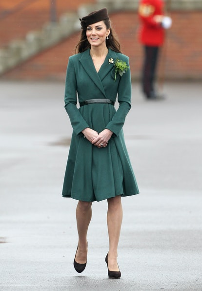 ALDERSHOT, ENGLAND - MARCH 17:  Catherine, Duchess of Cambridge takes part in a St Patrick's Day parade as she visits Aldershot Barracks on St Patrick's Day on March 17, 2012 in Aldershot, England. The Duchess presented shamrocks to the Irish Guards at a St Patrick's Day parade during her visit.  (Photo by Chris Jackson/Getty Images)