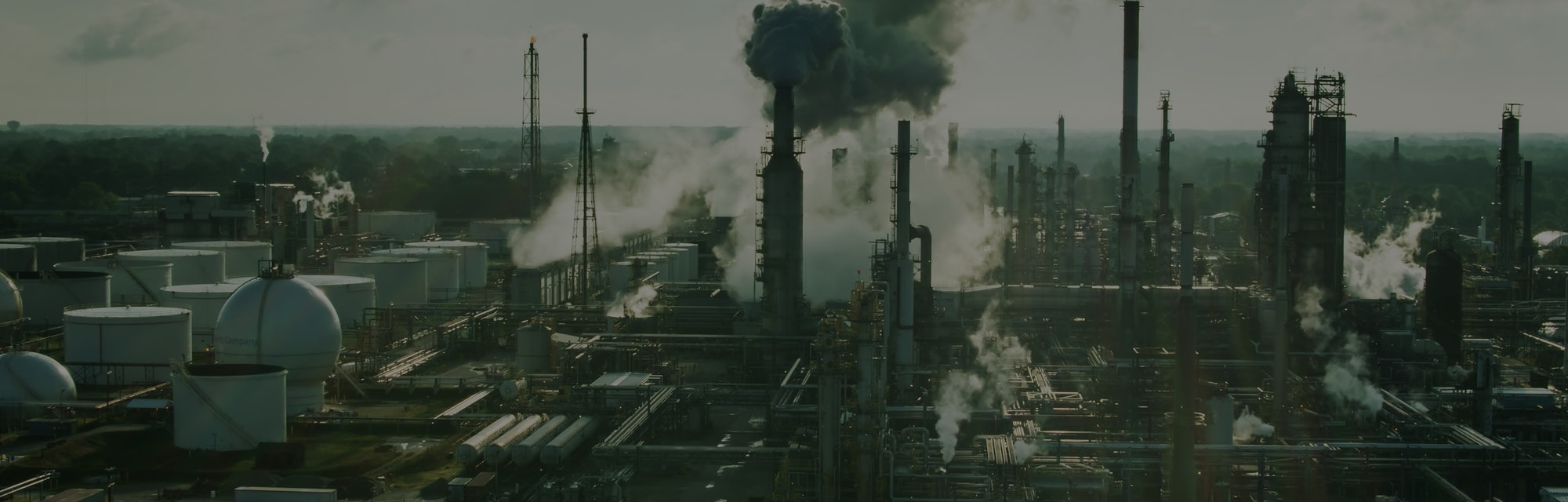 Aerial shot of a large oil refinery in East Toledo, Ohio on a summer morning.