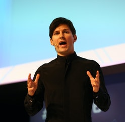 Telegram founder and CEO Pavel Durov delivers his keynote conference during day two of the Mobile Wo...