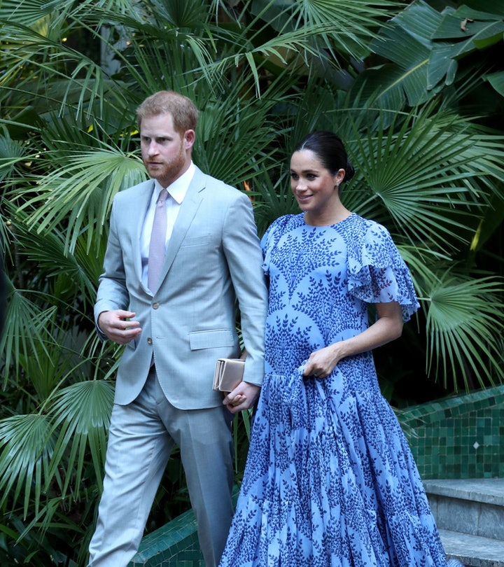 RABAT, MOROCCO - FEBRUARY 25:  Prince Harry, Duke of Sussex and Meghan, Duchess of Sussex leave the ...