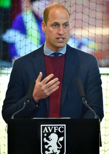 BODYMOOR HEATH, UNITED KINGDOM - MAY 4:  Britain's Prince William, Duke of Cambridge speaks to Aston...