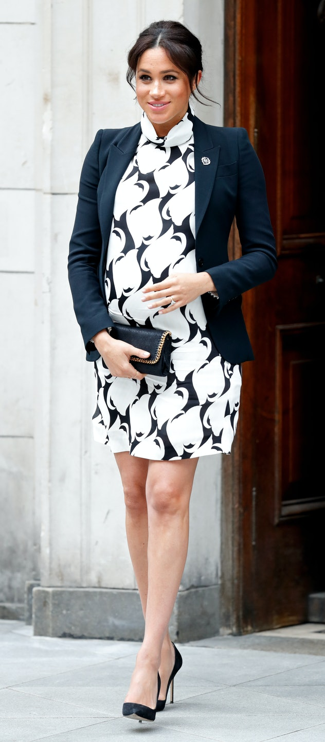 Markle wore a short dress and a blazer two months before Archie was born.
