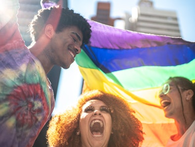 Group of friends enjoying the LGBTQI parade