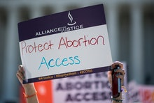 UNITED STATES - JUNE 20: Pro-choice and pro-life demonstrators rally outside of the U.S. Supreme Cou...