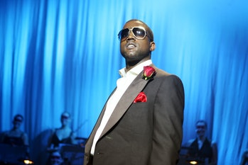 Kanye West performing at Abbey Road Studios in London in 2005 (Photo by Andy Willsher/Redferns/Getty...