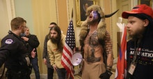 WASHINGTON, DC - JANUARY 06: Protesters interact with Capitol Police inside the U.S. Capitol Buildin...