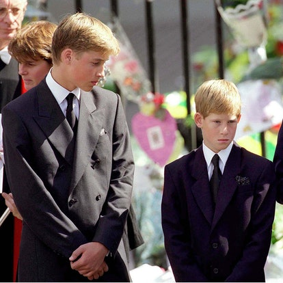 LONDON- SEPTEMBER 6: (FILE PHOTO)  Prince William and Prince Harry stand outside Westminster Abbey at the funeral of Diana, Princess of Wales on September 6, 1997 in London, England.   (Photo by Anwar Hussein/Getty Images)