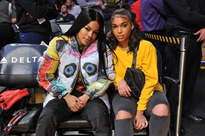 LOS ANGELES, CALIFORNIA - DECEMBER 30: Teyana Taylor (L) and Lori Harvey attend a basketball game be...
