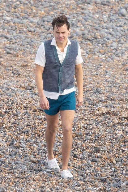 """EAST SUSSEX, ENGLAND - May 7:  Harry Styles is seen on the set of """"My Policeman"""" on May 7, 2021 in East Sussex , England. (Photo by DC/MEGA/GC Images)"""