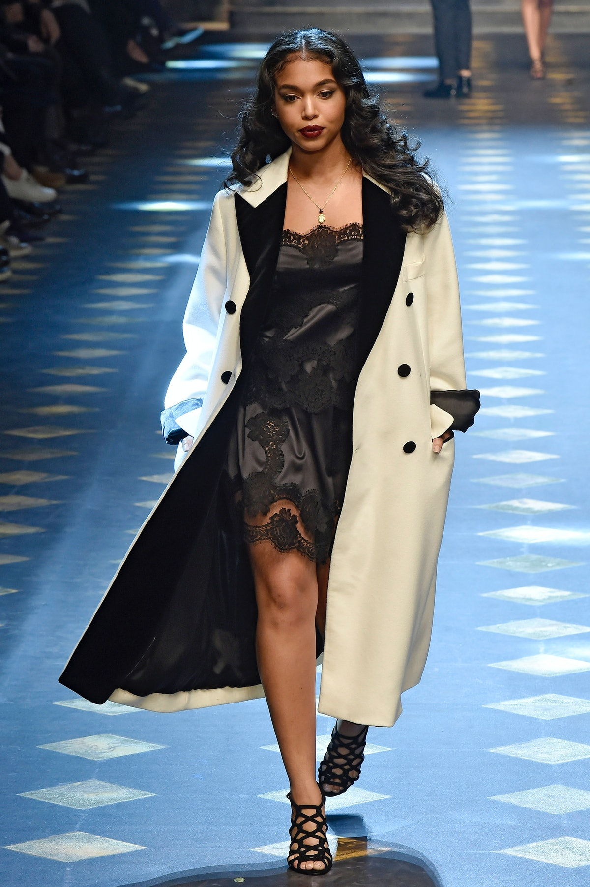 MILAN, ITALY - JANUARY 14:  Lori Harvey walks the runway at the Dolce & Gabbana Autumn Winter 2017 fashion show during Milan Menswear Fashion Week on January 14, 2017 in Milan, Italy.  (Photo by Catwalking/Getty Images)
