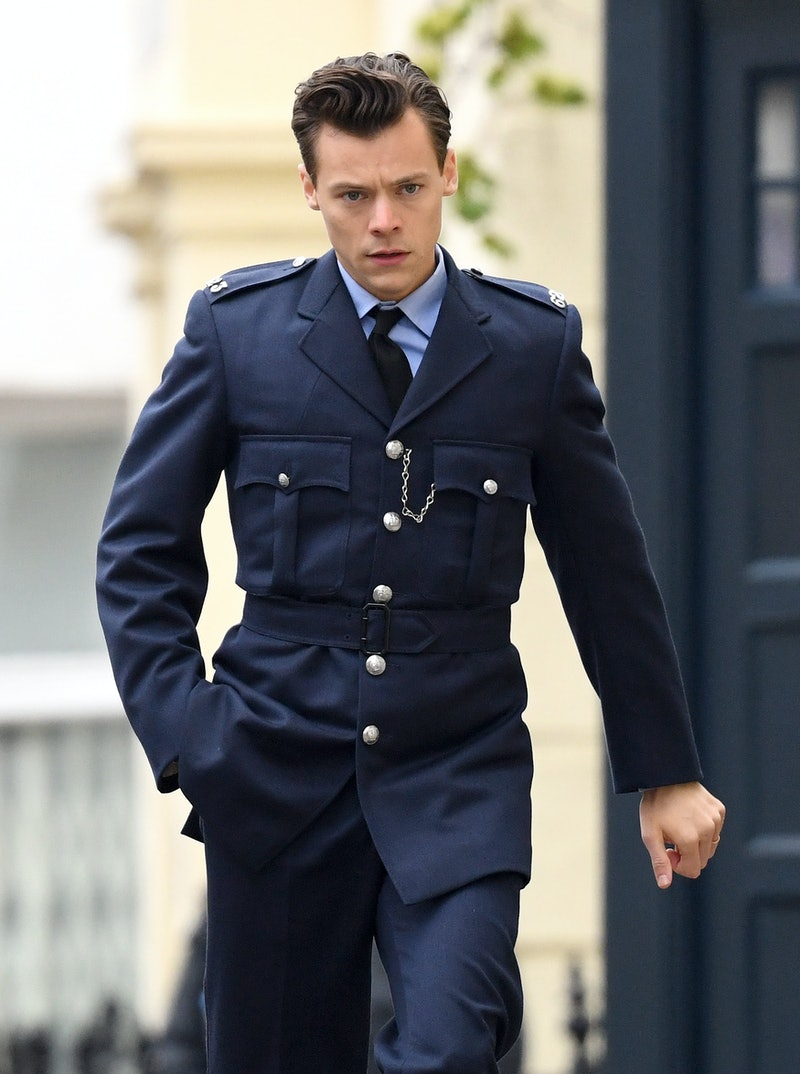 BRIGHTON, ENGLAND - MAY 14: (EMBARGOED FOR PUBLICATION IN UK NEWSPAPERS UNTIL 24 HOURS AFTER CREATE DATE AND TIME) Harry Styles seen on the film set for 'My Policeman' on May 14, 2021 in Brighton, England. (Photo by Karwai Tang/WireImage)