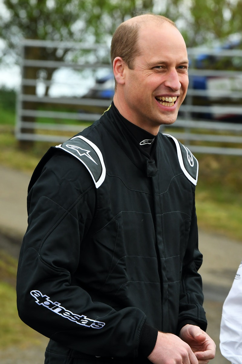 FIFE, SCOTLAND - MAY 22: Prince William, Duke of Cambridge prepares to test drive the Extreme E Odyssey 21 electric vehicle during his visit to the Knockhill Racing Circuit on May 22, 2021 in Fife, Scotland. Extreme E is a new off-road racing series which showcases electric SUVs and futuristic technologies in some of the world's most remote and challenging environments. (Photo by Andy Buchanan - WPA Pool/Getty Images)