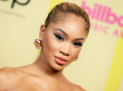 LOS ANGELES, CALIFORNIA - MAY 23: In this image released on May 23, Saweetie poses backstage for the...