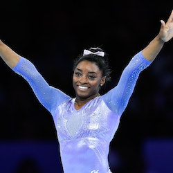 13 October 2019, Baden-Wuerttemberg, Stuttgart: Gymnastics: World Championships, apparatus finals, women: Simone Biles from the USA reacts after her exercise on the ground. Photo: Tom Weller/dpa (Photo by Tom Weller/picture alliance via Getty Images)