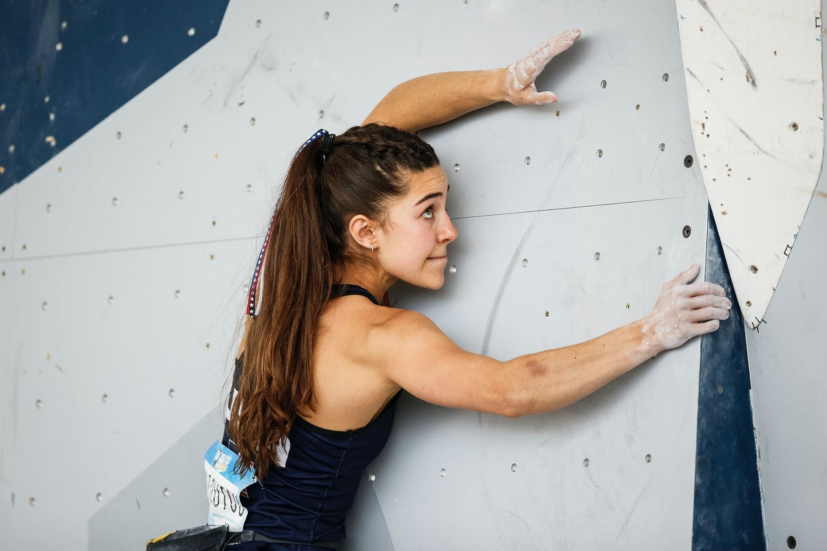 Brooke Raboutou competes during the semi-finals of the IFSC Climbing World Cup Salt Lake City at Industry SLC on May 22, 2021 in Salt Lake City, Utah.