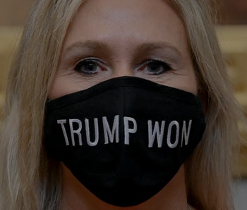 WASHINGTON, DC - JANUARY 3:  Q Anon supporter Marjorie Taylor Greene (R-Ga.) sports a Trump Won mask at the U.S. Capitol on the first day of the new Congressional session January 03, 2021 in Washington, DC.  (Photo by Katherine Frey/The Washington Post via Getty Images)