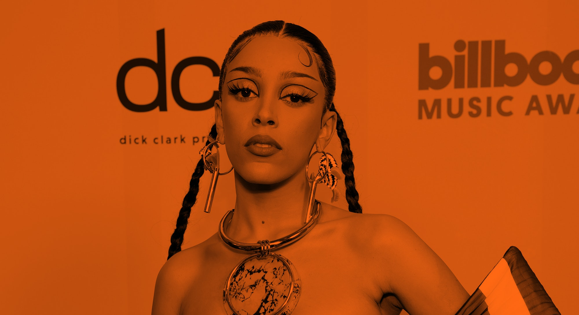 LOS ANGELES, CALIFORNIA - MAY 23: In this image released on May 23, Doja Cat poses backstage for the 2021 Billboard Music Awards, broadcast on May 23, 2021 at Microsoft Theater in Los Angeles, California. (Photo by Rich Fury/Getty Images for dcp)