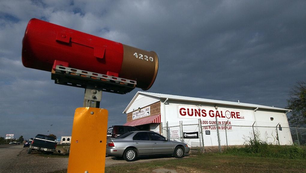 "KILLEEN, TX - NOVEMBER 09:  The ""Guns Galore""  store, where authorities are investigatinger whether ..."