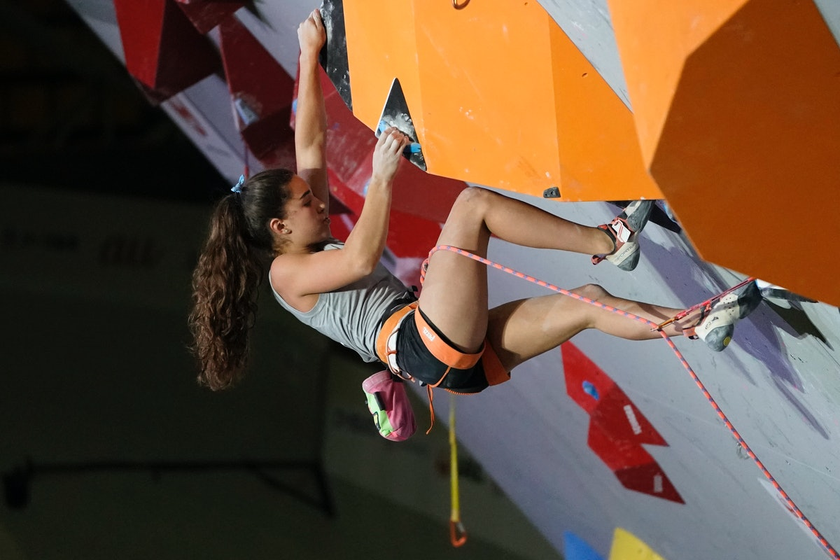 Brooke Raboutou competes in the Women Lead of the IFSC Climbing World Championships at the Esforta Arena Hachioji on August 18, 2019 in Hachioji, Tokyo, Japan.